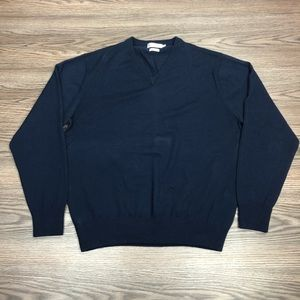 Peter Millar Navy Blue Merino V-Neck Sweater M